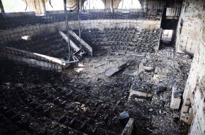 Image Gabon: l'Assemblée nationale après l'incendie