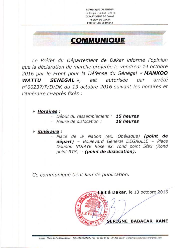 Communiqué: le Préfet de Dakar autorise la marche de Mankoo Watù Senegaal mais change l'itinéraire