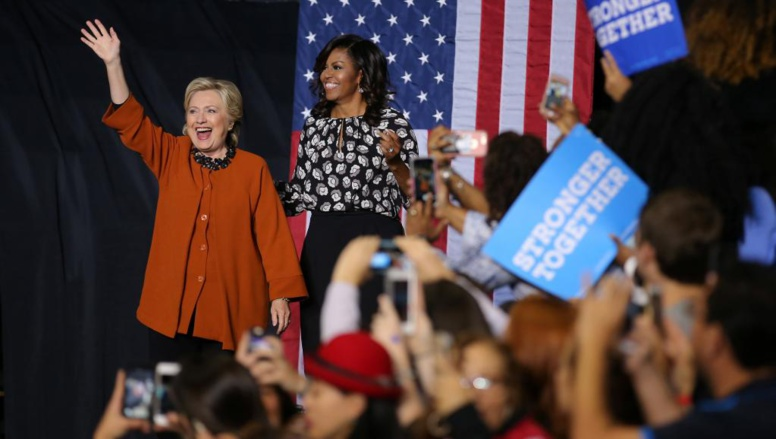 Hillary Clinton et Michelle Obama côte à côte pour faire barrage à Donald Trump