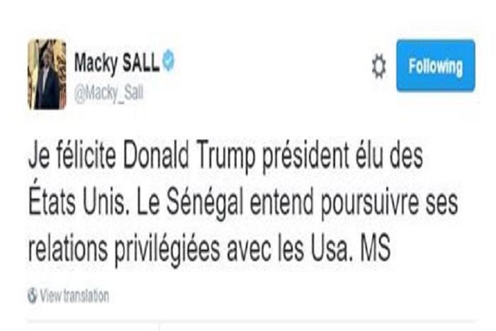 Le président Macky Sall félicite Donald Trump