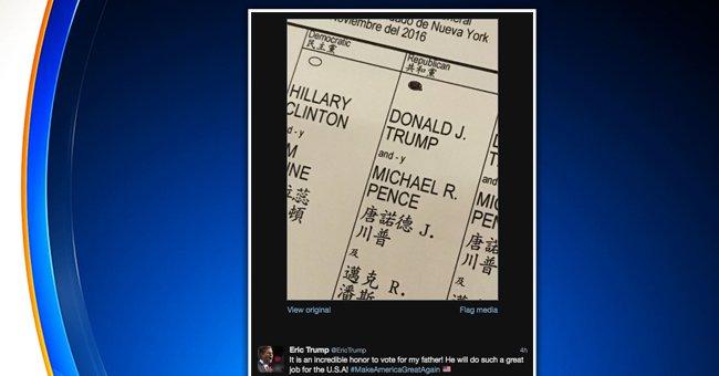 Election américaine: le fils de Trump tweete son bulletin de vote et se met ainsi hors la loi