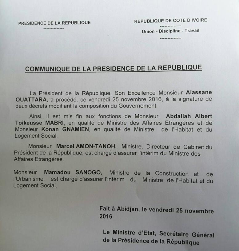 Côte d'Ivoire : Ouattara limoge son Ministre des Affaires Étrangères, M. Albert Toikeusse Mabri