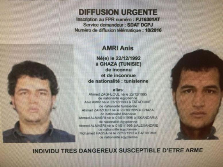 Attentat de Berlin : le suspect identifié comme le Tunisien Anis Amri, 24 ans