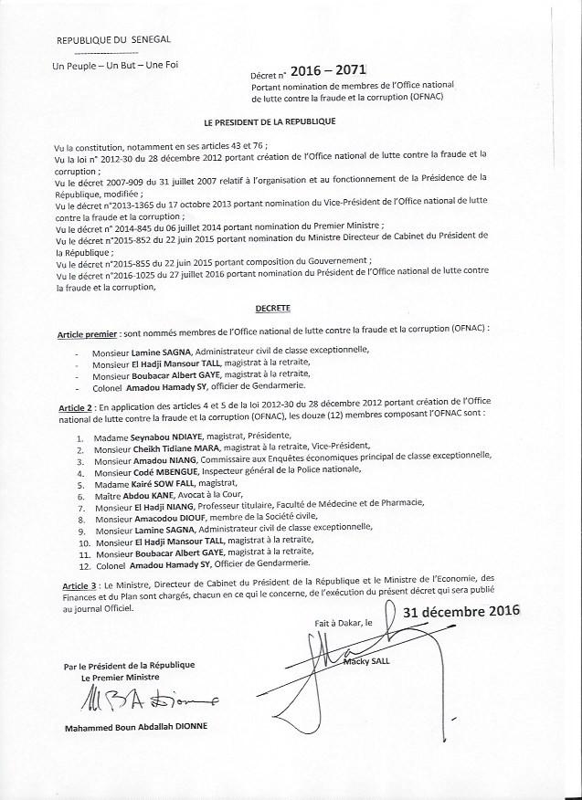 OFNAC : Voici le décret portant nomination des membres de l'Ofnac