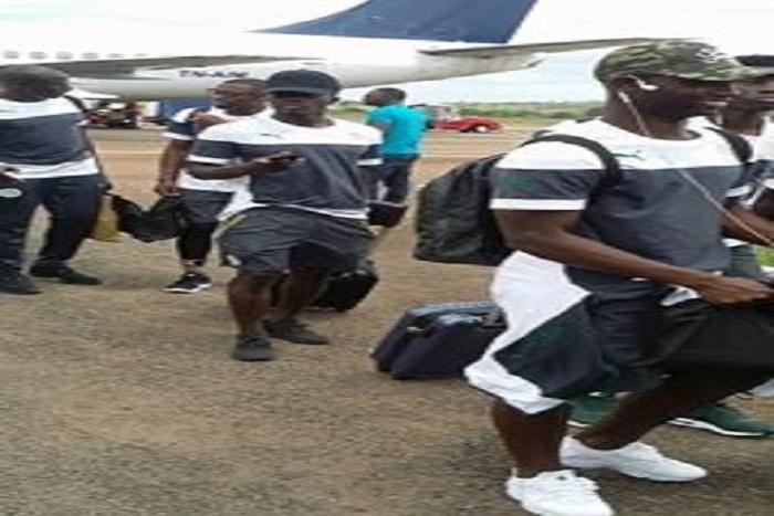 Les Lions sont arrivés à 12h à l'aéroport de Franceville au Gabon