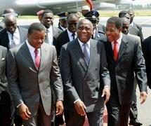 Les présidents  togolais Faure Gnassingbé , ivoirien Laurent Gbagbo et béninois Yayi Boni