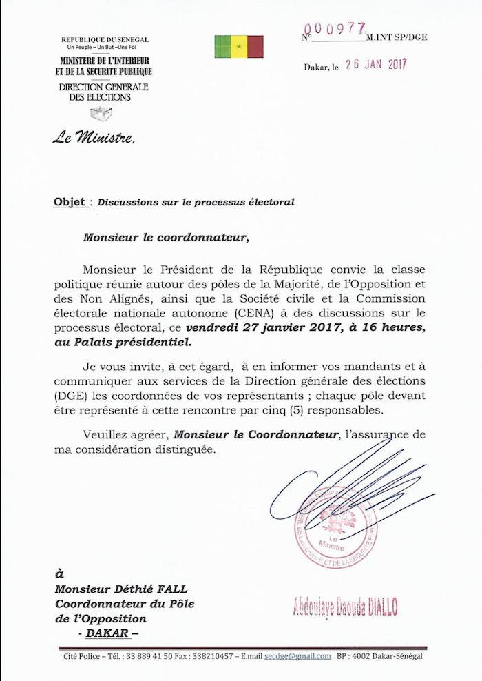 Processus électoral : Voici la lettre d'invitation du ministre de l'Intérieur à Manko Wattu Sénégal