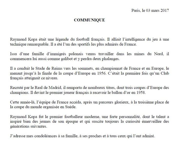 """Décès de Raymond Kopa: l'Elysée salue """"une légende du football français"""""""