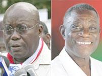 Le candidat du NPP, Nana Dankwa Akufo-Addo (g) et son rival du NDC, John Evans Atta-Mills.