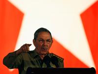 Le président cubain Raul Castro, lors du cinquantième anniversaire de la révolution cubaine, le 1er janvier 2009.