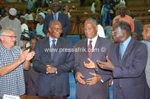 Les leaders de l'opposition sénégalaise (Aly Haidar, Ousmane Tanor Dieng, Abdoulaye Bathily, Moustapha Niasse)