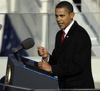 Le président des Etats-Unis Barack Obama lors de son discours d'inverstiture à Washington, le 20 janvier 2009. (Photo RFI)