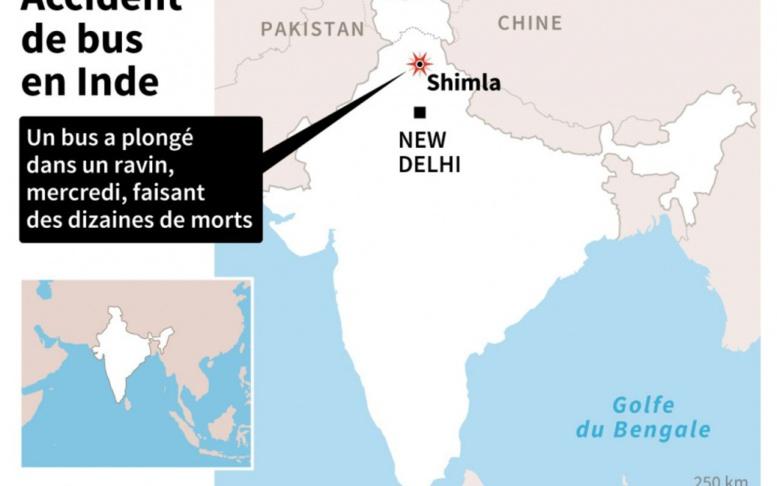 Au moins 44 morts dans un accident de bus en Inde