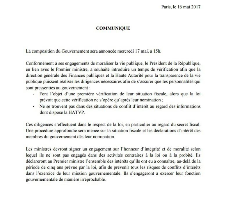 La composition du gouvernement français annoncée ce mercredi, (communiqué)