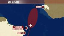 Le trajet de l'Airbus d'Air France et la supposée zone de l'accident (photo: TFI)