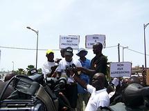 Le coordonnateur du CDPJ et secrétaire général adjoint du SYNPICS, Ibrahima Khaliloulah Ndiaye après la marche contre l'agression de Kara et de Kambel