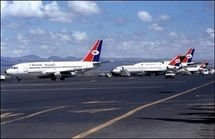 Des avions de la compagnie Yemenia le 23 janvier 2001 sur le tarmac de l'aéroport de Sanaa (Photo: AFP)