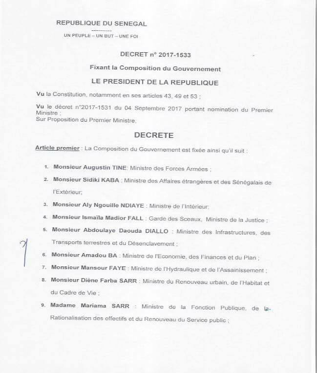 Nouveau Gouvernement du Sénégal: Liste des nouveaux membres - Pas de changements majeurs