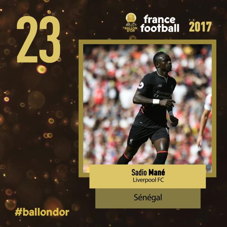 Ballon d'Or France Football 2017: Sadio Mané classé 23e devant Benzema, Coutinho, Falcao...