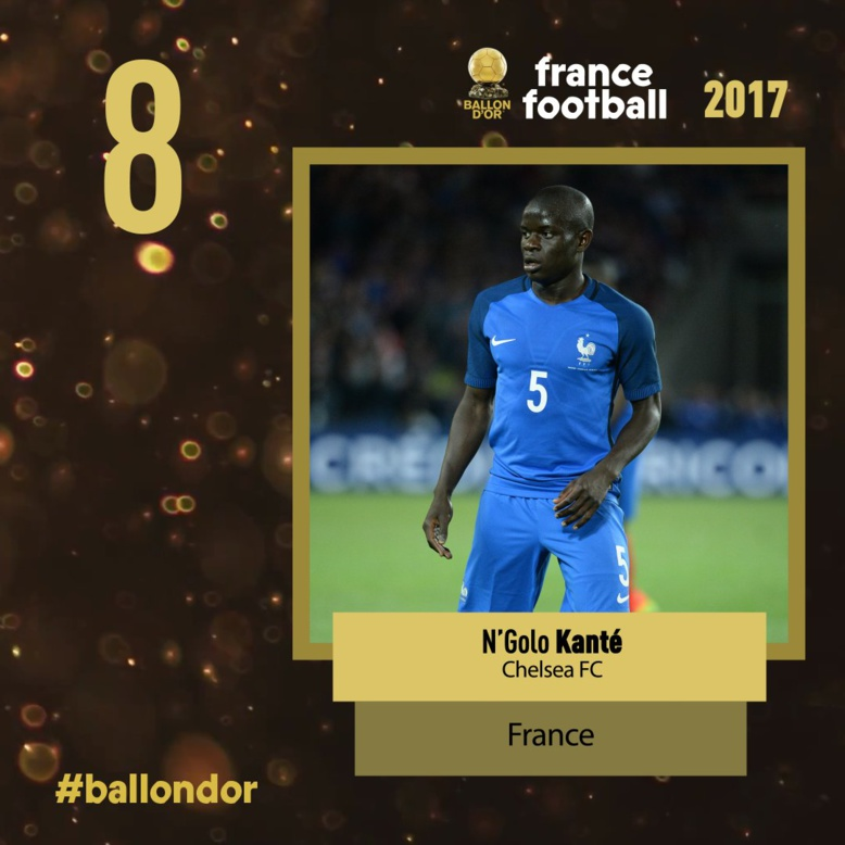 Ballon d'or France football 2017 : Ngolo Kanté est 8e