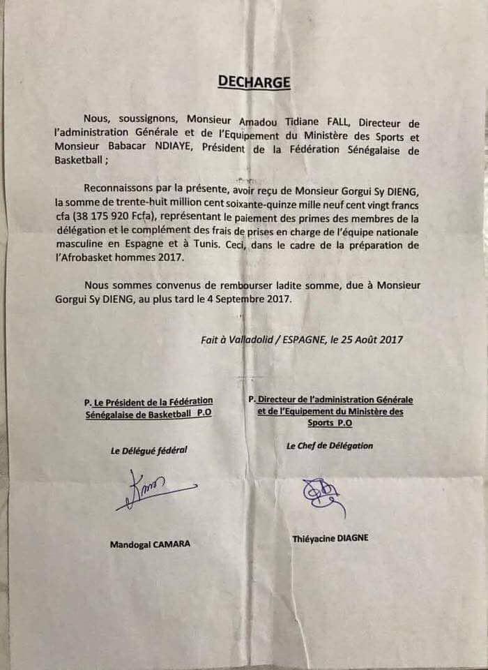 Voici la décharge qui prouve que la Fédération de basket doit 38 millions Fcfa à Gorgui Sy Dieng