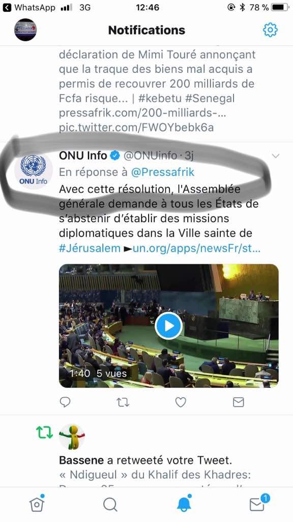 Sur Twitter, l'ONU répond à l'article de PressAfrik et interdit à tous les Etats d'établir des missions diplomatiques à Jérusalem