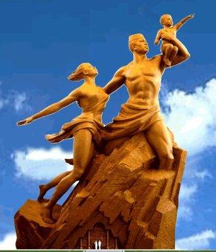 Le Monument de la Renaissance Africaine chante  l'Africain libéré de l'Esclavage et de la Domination