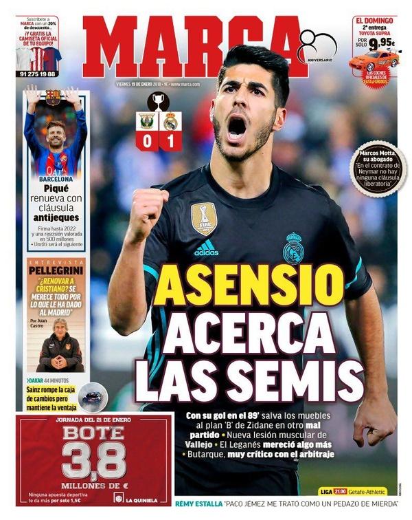 Les Unes des journaux sportifs en Espagne du 19 janvier 2018