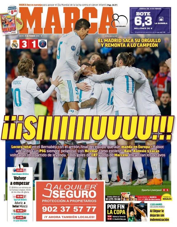 Découvrez les Unes des principaux journaux sportifs espagnols de ce jeudi 15 février 2018.