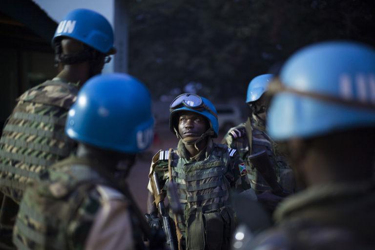 Un groupe de casques bleus en République Centrafrique