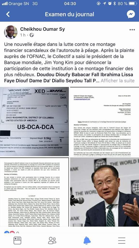 Le Collectif des usagers de l'autoroute à péage a saisi le Président de la Banque Mondiale