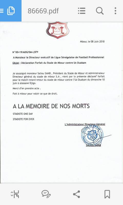 Urgent-Stade de Mbour déclare forfait contre Ouakam pour le match de ce dimanche