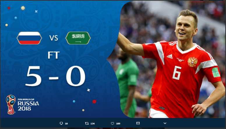 Coupe du Monde 2018 : : Russie 5-0 Arabie Saoudite