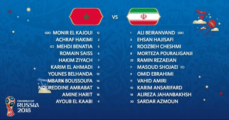 #CdM :  les compos d'équipes de Maroc -Iran
