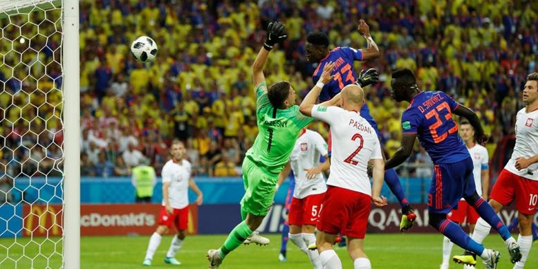Mi-temps: Yéri Mina donne l'avantage à la Colombie face à la Pologne (1-0)