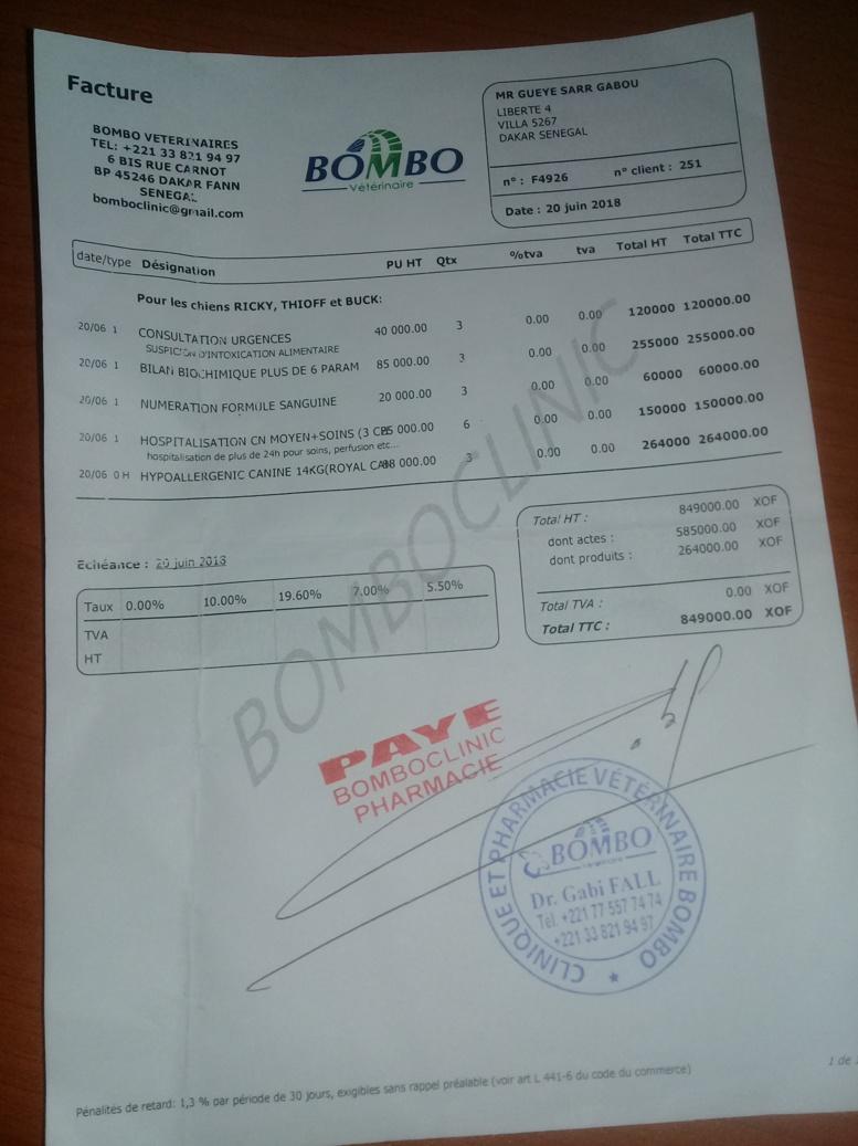 facture de la consultation de la clinique vétérinaire Bombo Vétérinaires, qui a consulté les chiens