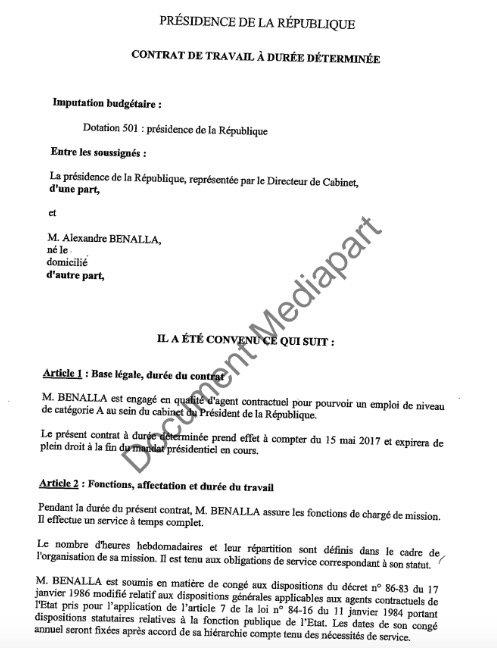 Mediapart publie le contrat de travail d'Alexandre Benalla (Document)