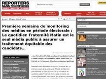 En Côte d'Ivoire, les médias dans la campagne électorale sous la loupe de Reporters sans frontières