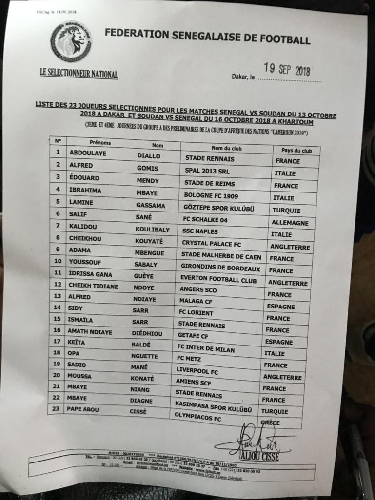 """Urgent-Double confrontation Sénégal vs Soudan: Aliou Cissé reconduit """"ses"""" 23"""
