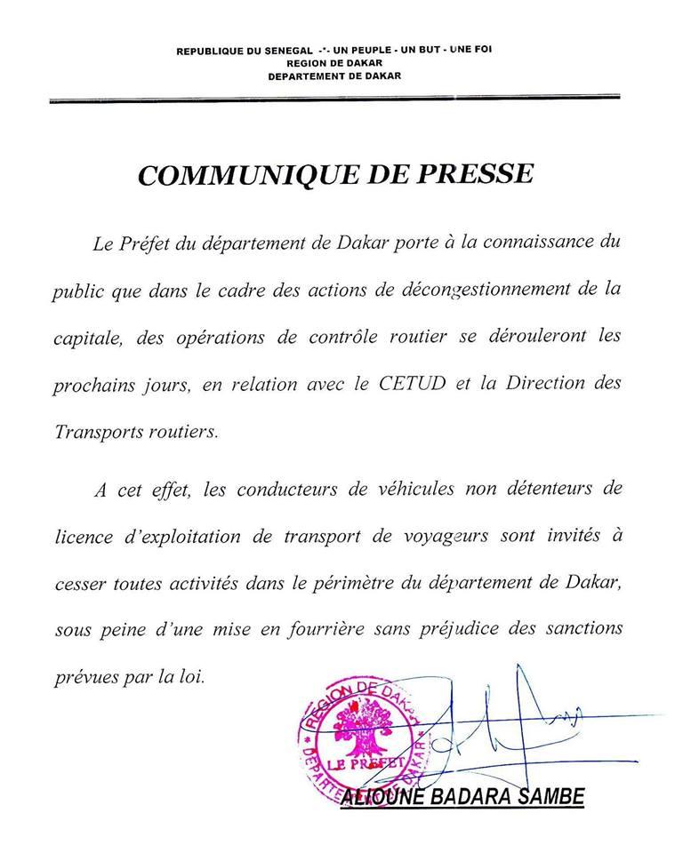 """Le Préfet de Dakar va envoyer en fourrière les taxis clandos, """"cars rapides"""" et """"Ndiaga Ndiaye"""" sans licence"""