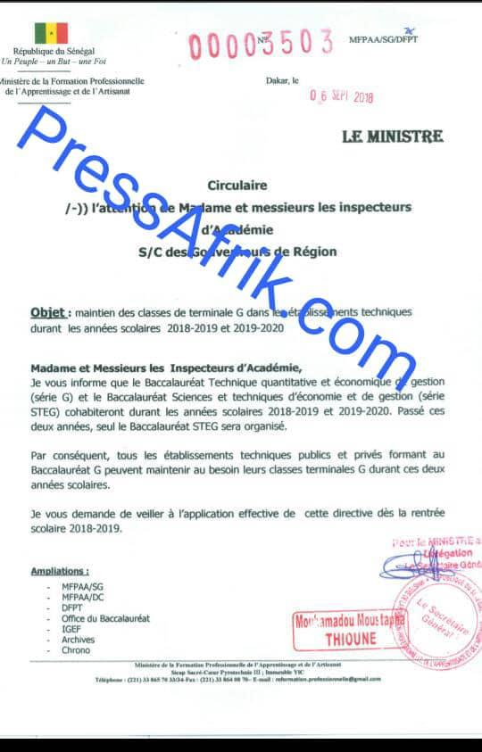 Le Document du ministère de la Formation professionnelle de l'Apprentissage et de l'Artisanat confirmant la tenue d'un Bac STEG en 2018