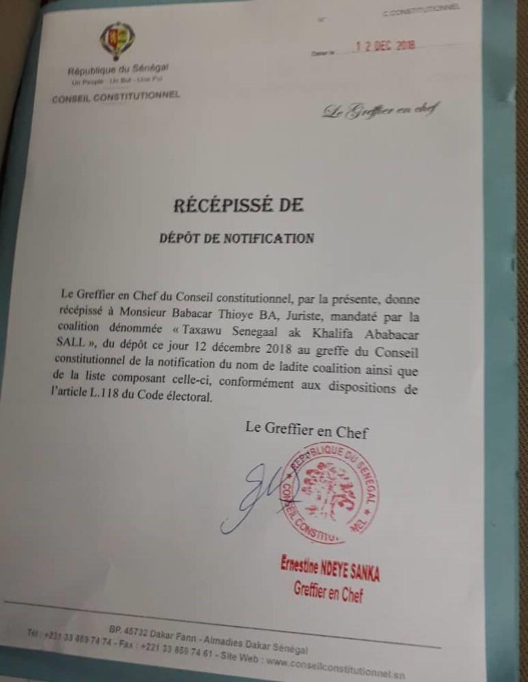Présidentielle 2019 : Khalifa Sall a reçu son récépissé (Document)