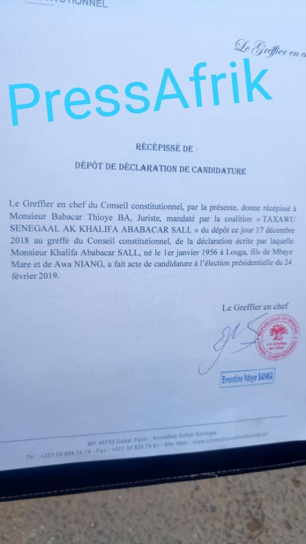 Conseil constitutionnel: dépôt de déclaration de candidature effectué pour Khalifa Sall