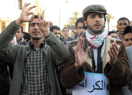 Oussama el-Khlifi, dans les manifestations en meneur d'homme