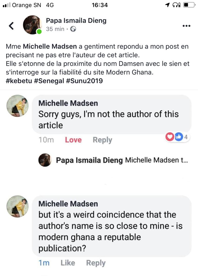 Capture d'écran des échanges entre Pape Ismaila Dieng et Michelle Madsen sur Facebook