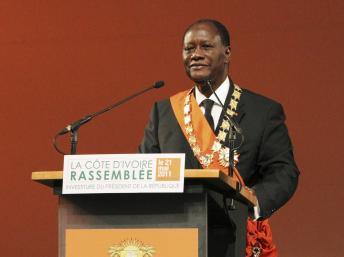 Alassane Ouattara lors de son discours d'investiture à Yamoussoukro, le 21 mai 2011. REUTERS/Luc Gnago