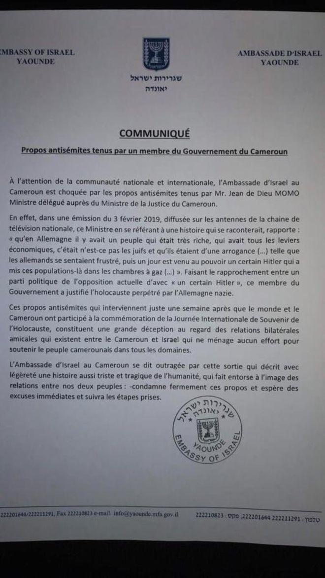 """Israël se dit """"outragé"""" par un ministre camerounais"""