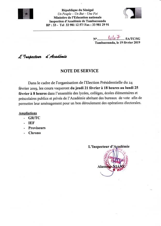 Scrutin du 24 février : vacances des cours dans les établissements concernés de jeudi à lundi