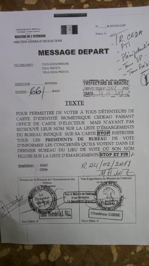 URGENT - La Direction général des élections sort un texte pour ordonner de laisser voter les personnes dont les noms ne figurent pas sur les listes et...