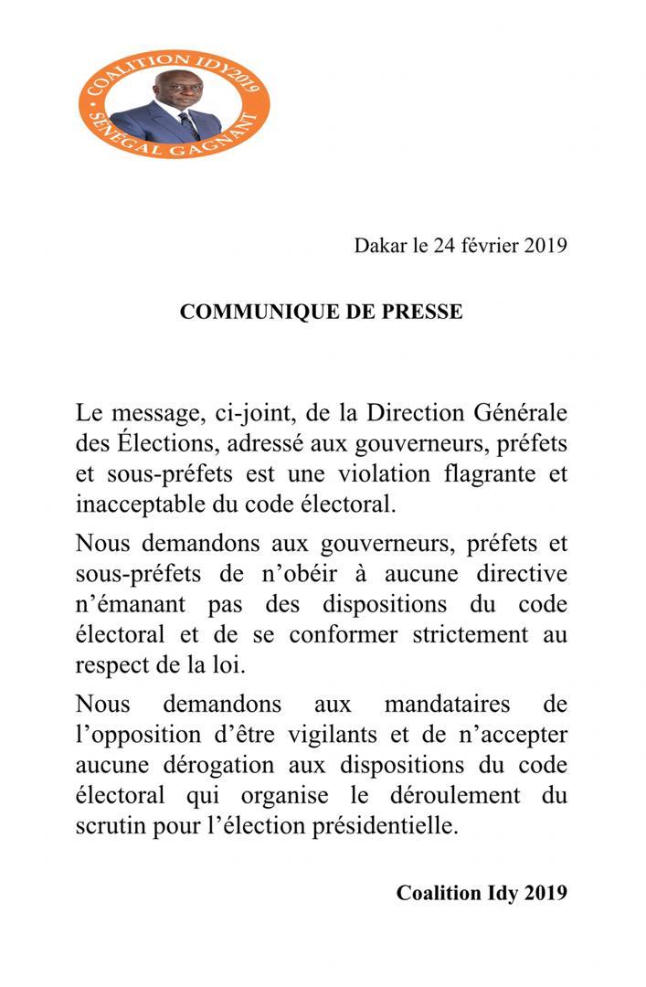 La coalition IDY 2019 dénonce une violation flagrante du Code électoral par la DGE et met en garde les préfets et...
